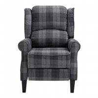 Grey Checked Fab Recliner Armchair, with wood feet